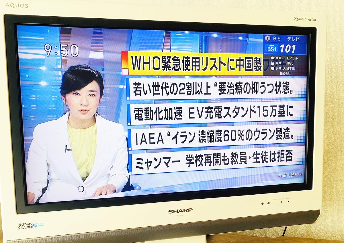 BSニュースが映るテレビ