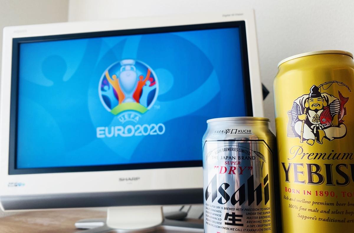 euro2020のロゴが映るテレビとビール2本